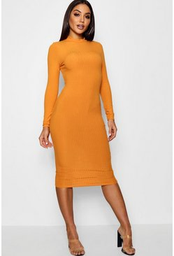 Mustard Ribbed High Neck Long Sleeved Midi Dress