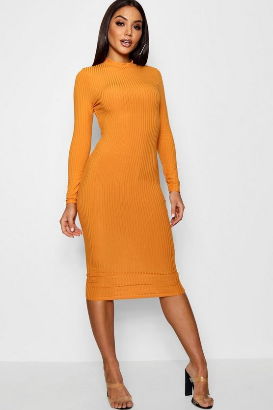 Womens Mustard Ribbed High Neck Long Sleeved Midi Dress