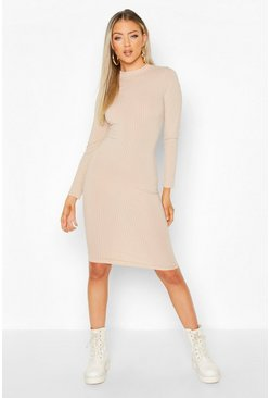 Stone Ribbed High Neck Long Sleeved Midi Dress