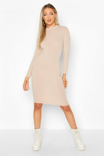 Womens Stone Ribbed High Neck Long Sleeved Midi Dress