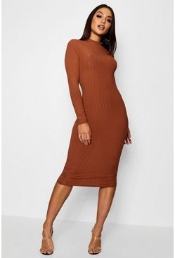 Womens Tan Ribbed High Neck Long Sleeved Midi Dress