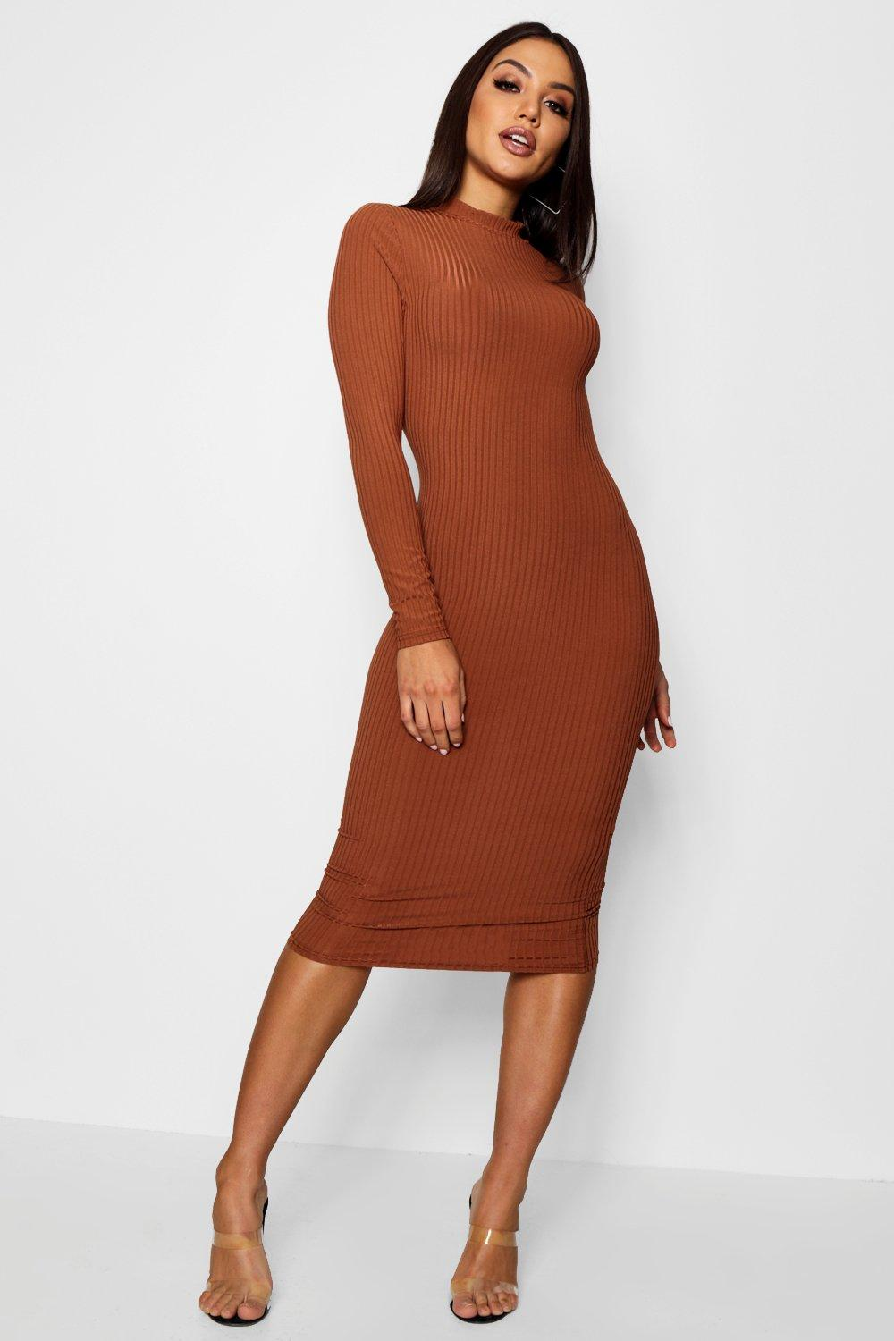 115df42b2d3 Womens Tan Ribbed High Neck Long Sleeved Midi Dress. Hover to zoom