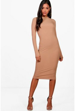 Toffee Ribbed High Neck Long Sleeved Midi Dress