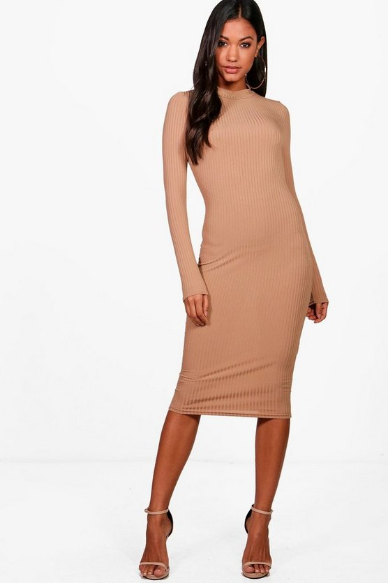 Ribbed High Neck Long Sleeved Midi Dress