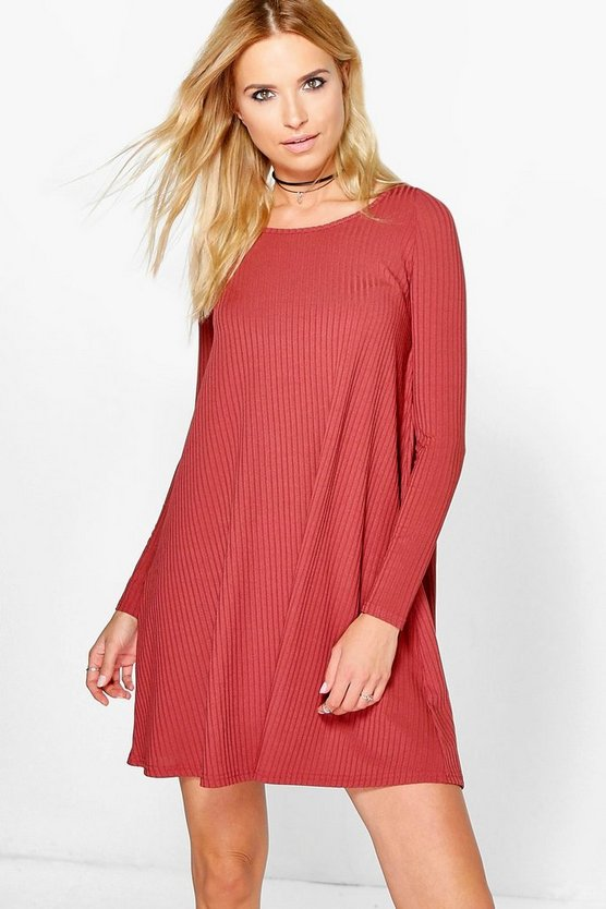 Ribbed Long Sleeved Swing Dress