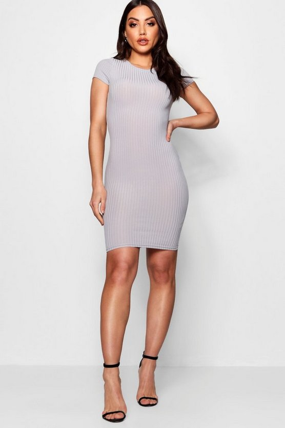 Womens Grey Cap Sleeved Rib Bodycon Dress