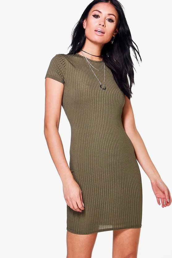 Cap Sleeved Rib Bodycon Dress
