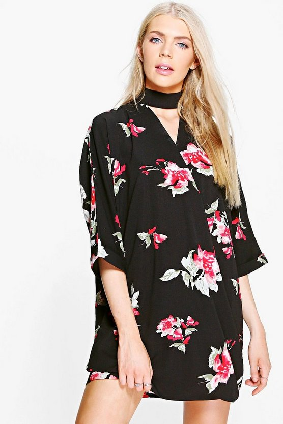 Emmaline Floral Choker Wrap Shirt Dress