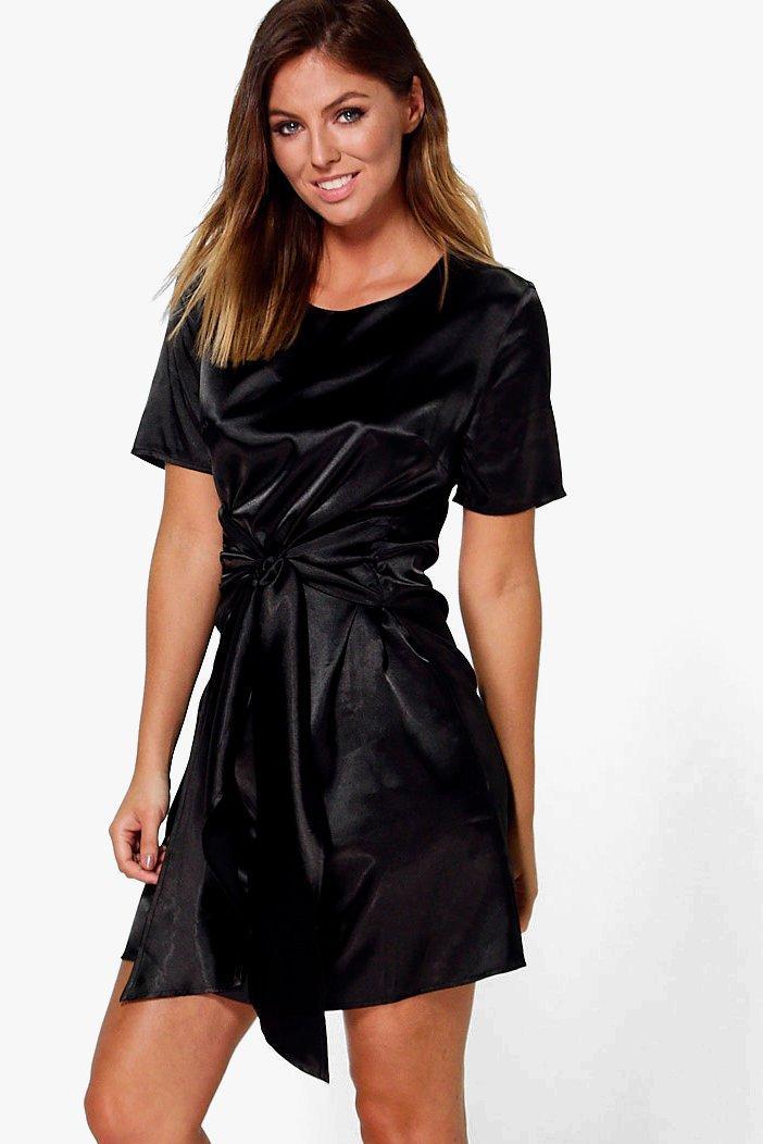 Oversized Tie Waist Satin Shift Dress  black