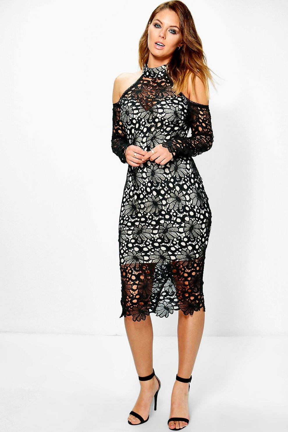 3b2d0a8ace19 Boutique Wendy Crochet Lace Midi Dress | Boohoo
