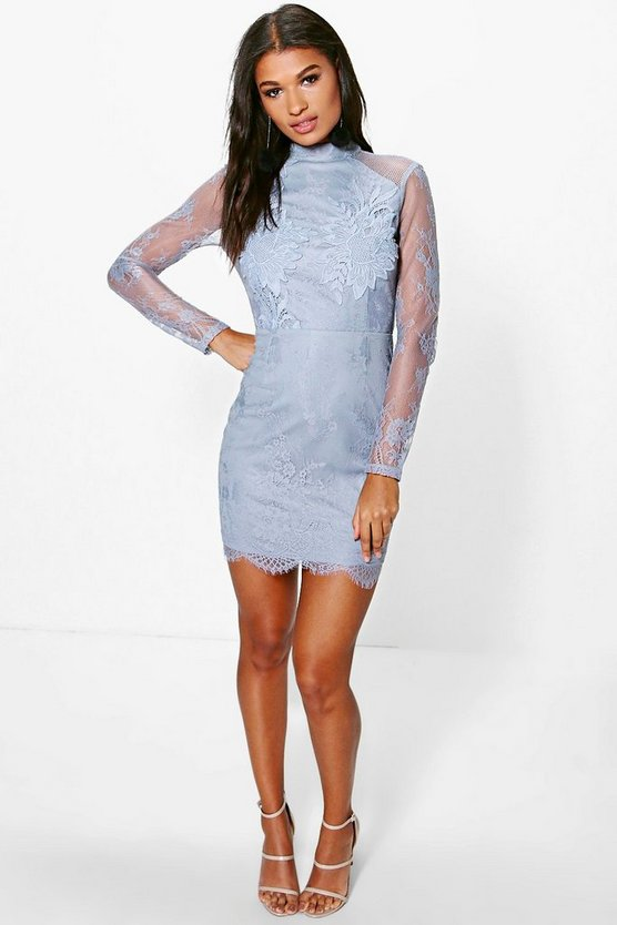 Boutique Fi Eyelash Lace Crochet Bodycon Dress