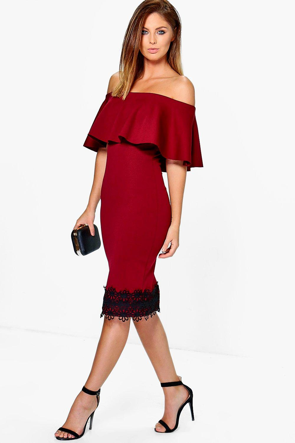 Soph Frill Off Shoulder Lace Hem Midi Dress. Hover to zoom b7f9fe32f065