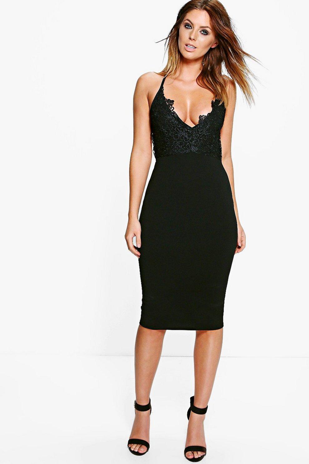 4f52b50141e2 Leonie Crochet Lace Top Strappy Midi Dress | Boohoo