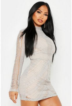 Womens Grey Boutique  Crochet Panelled Bodycon Dress