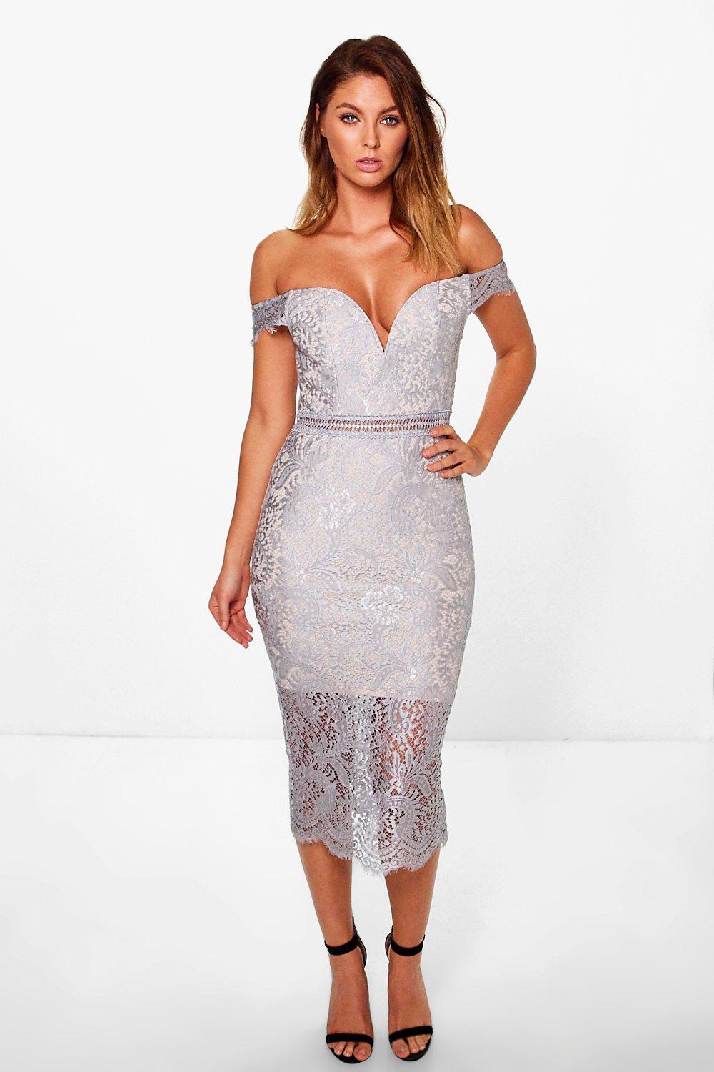 4cddbf089ad8 Womens Grey Boutique Bea Off Shoulder Lace Midi Dress. Hover to zoom