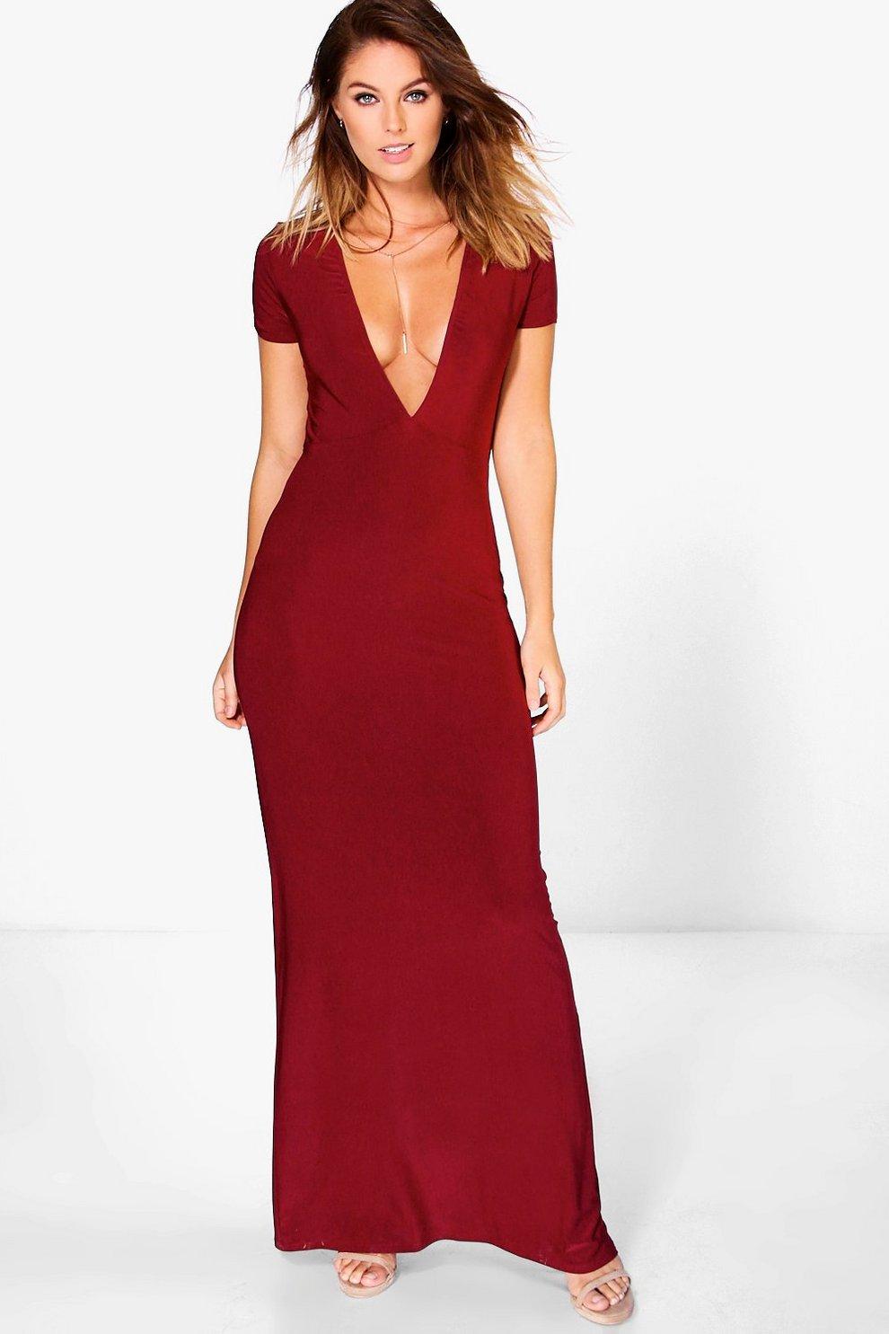 d8ffe535e Jess Slinky Deep Plunge Maxi Dress | Boohoo