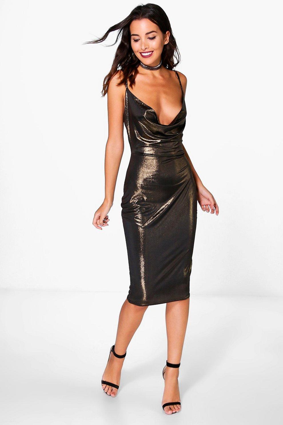 233606da1b50 Womens Gold Pearl Metallic Strappy Cowl Neck Midi Dress
