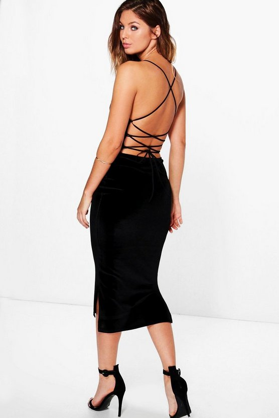 Womens Velvet Strappy Back Dip Hem Midi Dress