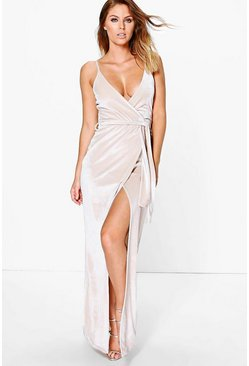 Womens Champagne Velvet Wrap Tie Maxi Dress