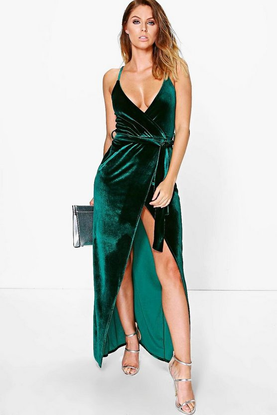 Velvet Wrap Tie Maxi Dress