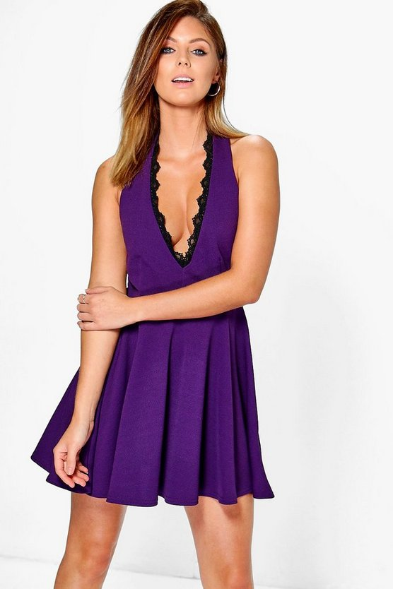Rita Lace Trim Skinny Tie Neck Skater Dress