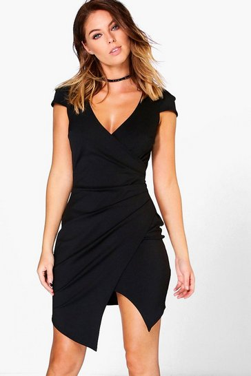 Womens Black Cap Sleeved Wrap Detail Bodycon Dress