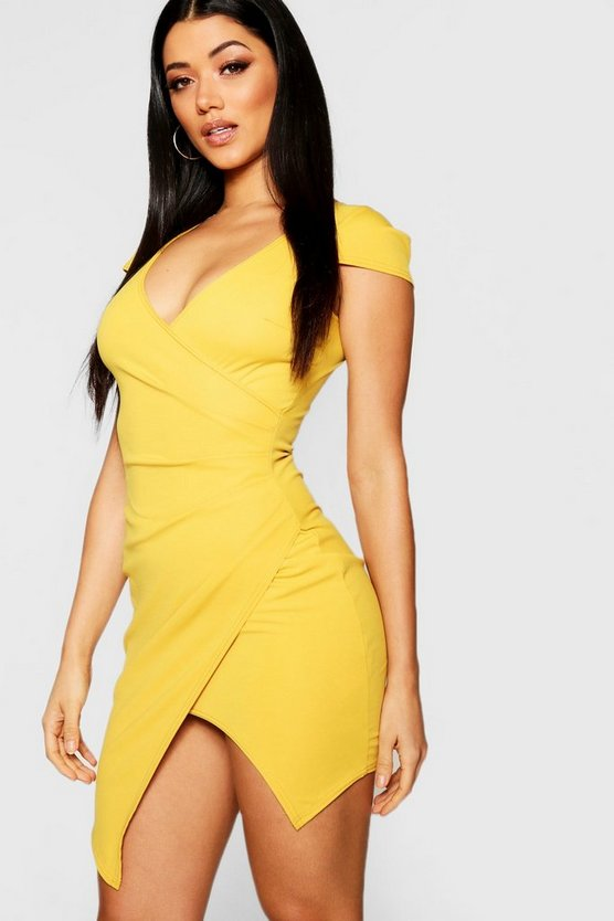 Womens Mustard Cap Sleeved Wrap Detail Bodycon Dress