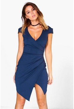 Navy Cap Sleeved Wrap Detail Bodycon Dress