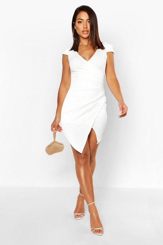 Womens White Cap Sleeved Wrap Detail Bodycon Dress