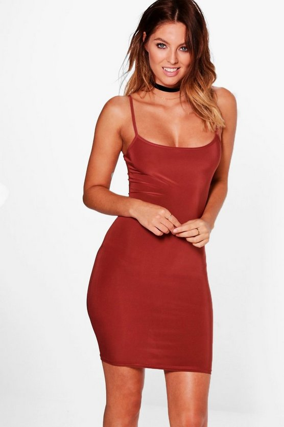 Womens Chestnut Slinky Strappy Mini Bodycon Dress