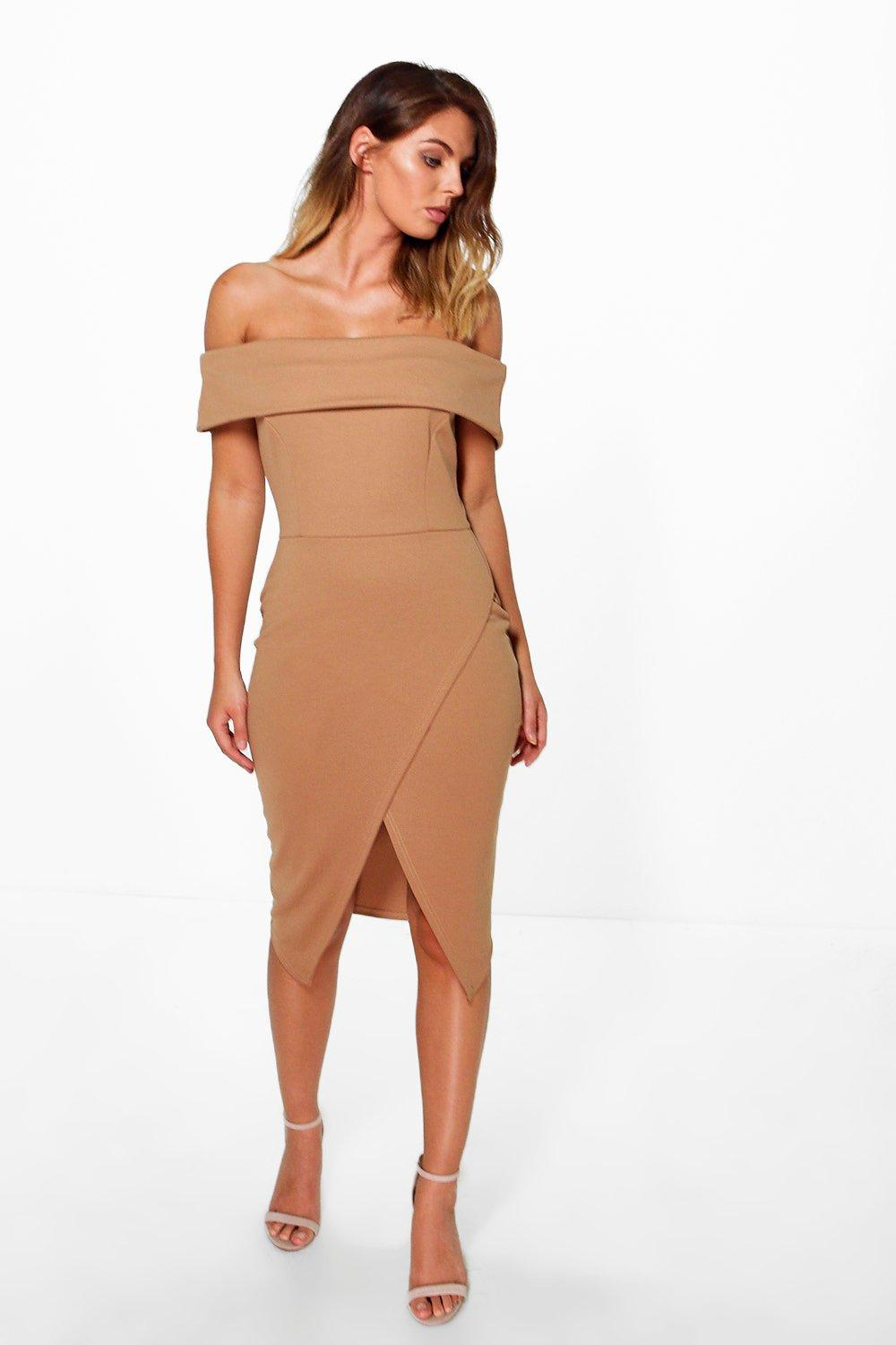 3b74ab1014e1 Womens Camel Phillis Off Shoulder Wrap Skirt Midi Dress. Hover to zoom