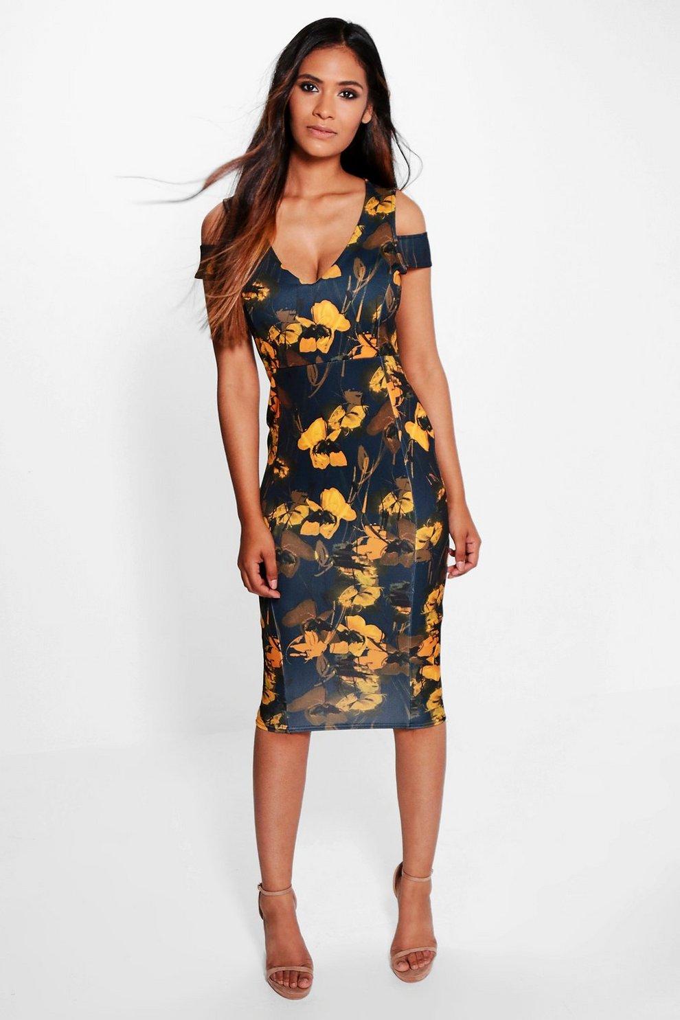 09e2d7ab3ba0 Boohoo Cold Shoulder Floral Midi Dress - raveitsafe