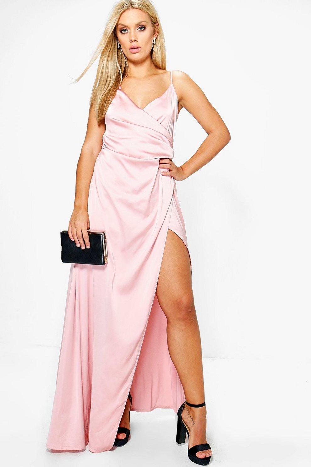 ace46add265 Womens Blush Jordyn Satin Wrap Maxi Dress