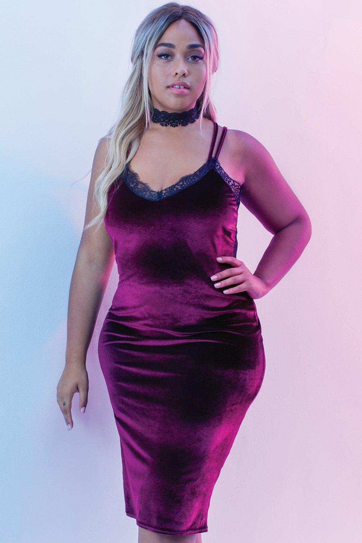 Jordyn Velvet Lace Back Midi Dress | Boohoo