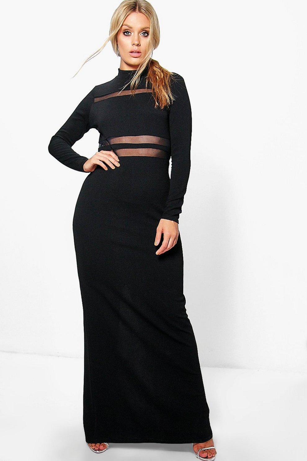 3df3f8ab8e16 Jordyn Crepe Long Sleeve Mesh Panel Maxi Dress | Boohoo