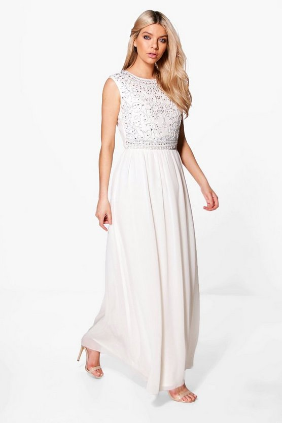 Boutique Embellished Chiffon Maxi Dress