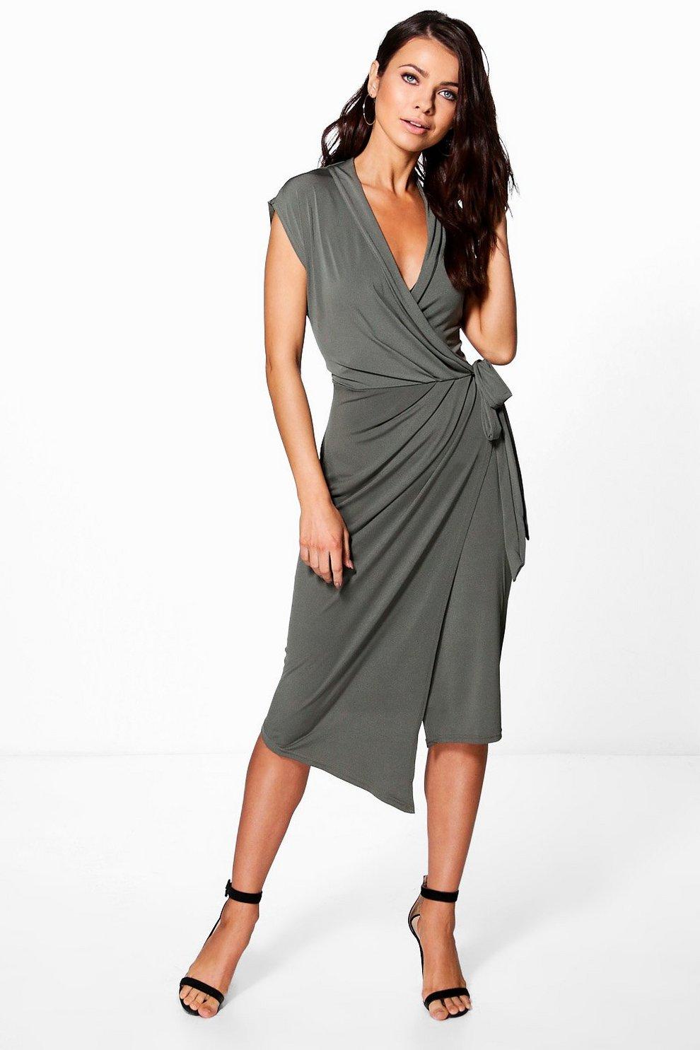 c63e74095bf77 Wrap Front Midi Dress | Boohoo