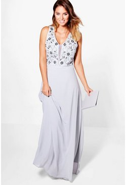 Boutique Orla Floral Embellished Maxi Dress, Голубой, Женские