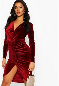 Womens Berry Cowl Neck Velvet Draped Midi Dress