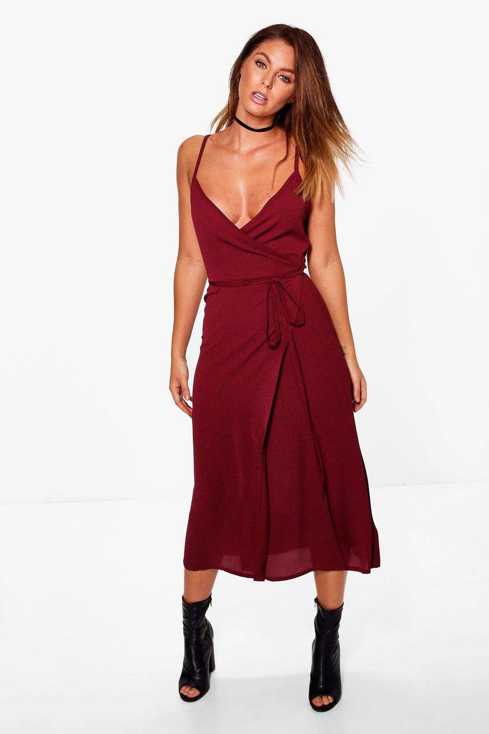 42a594bcbc4a Chiara Wrap Tie Side Midi Dress
