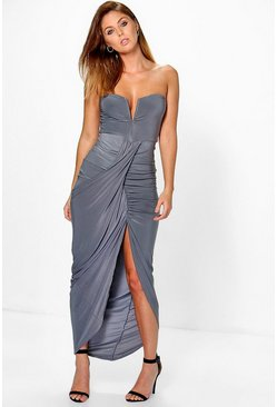 Womens Smoke Dory Slinky Wrap Drape Bandeau Maxi Dress