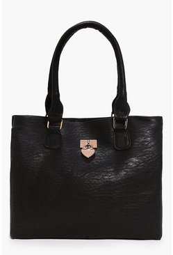 Womens Black Ava Heart Metal Detail Day Bag