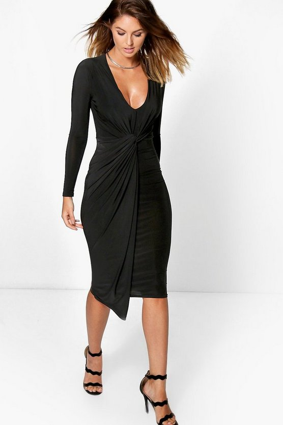 Kassie Slinky Drape Wrap Midi Dress