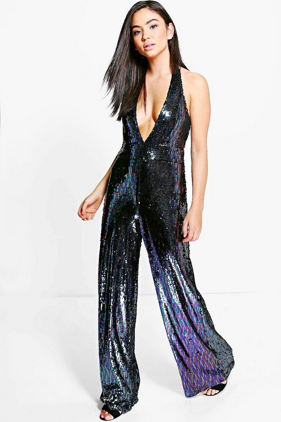 All Over Sequin Halter Neck Jumpsuit