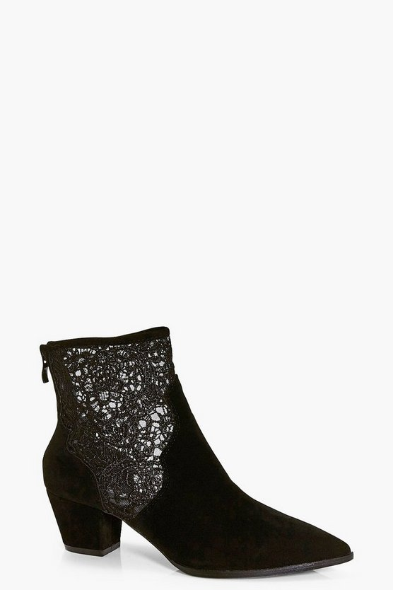 Lucy Lace Insert Pointed Boot