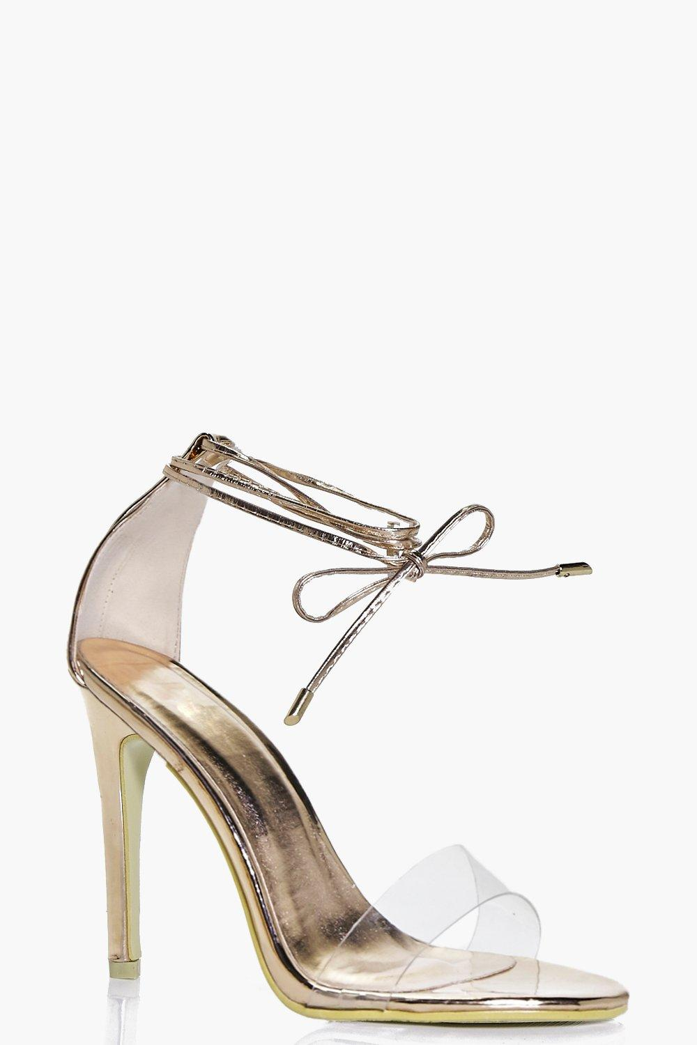 fe92c7602ce Zoe Clear Strap Ankle Wrap Two Part Heels. Hover to zoom