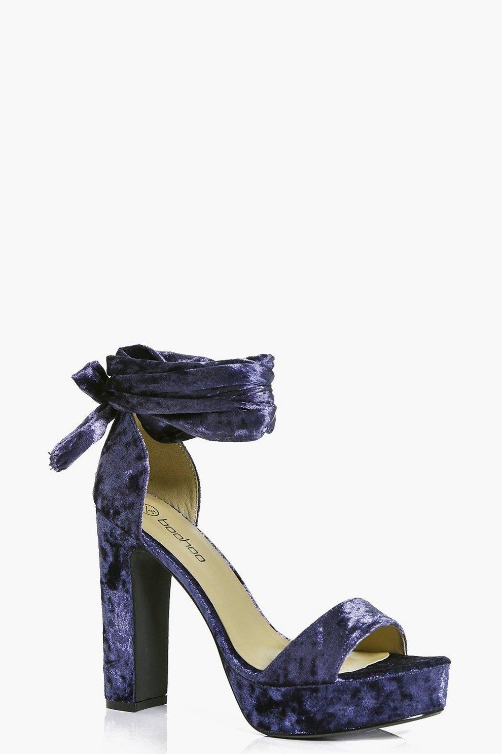 9059cb70dd7 Keira Velvet Wrap Strap Platform Heels