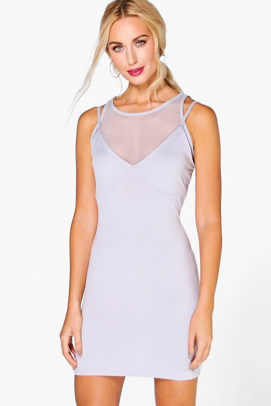 Claira Mesh Top Detail Bodycon Dress