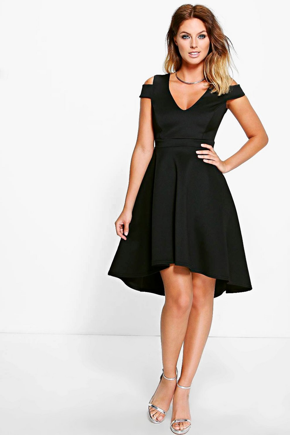ba0b442340c6 Clea Bardot Plunge High Skater Dress | Boohoo