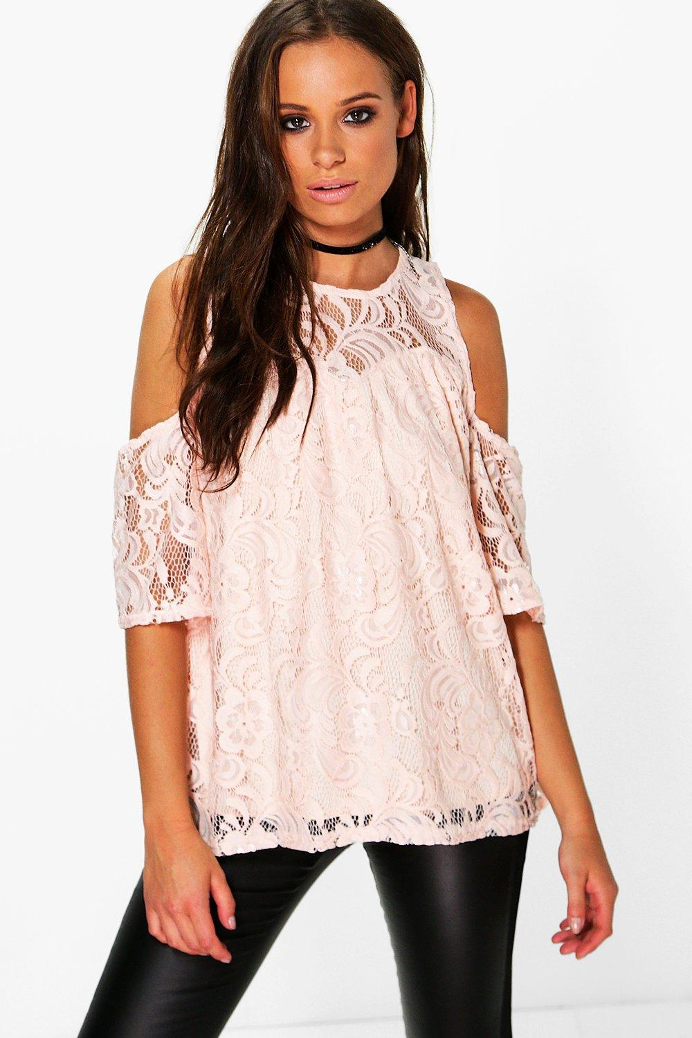 390ee01e2 ... Lace Cold Shoulder Top. Hover to zoom